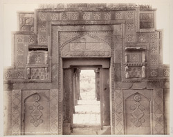 Tatta, Karachi District, Sindh. Isa Khan's Zanana Tomb in front of Isa Khan's Tomb, inside of entrance